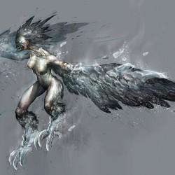 """Ледяная гарпия. Рисунок Тобиаса Квана к игре """"God of War"""""""