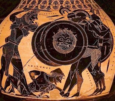 Геракл и Герион. Чернофигурная амфора, около 550-540 гг. до н.э.