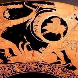 Геракл, Герион и убитый Орф. Краснофигурный килик, прим. 510-500 гг. до н.э.