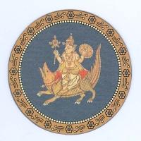 Бог Варуна с семьей и макарой на индийских игральных картах Ганджифа
