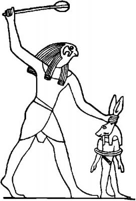 Гор убивает Сета, изображенного в виде осла
