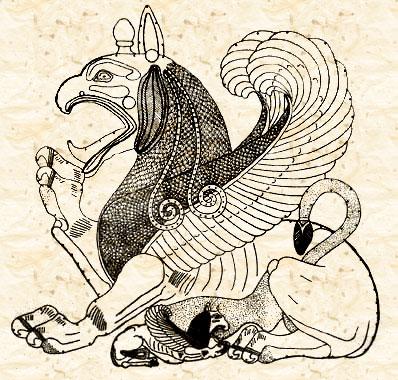 Грифон, вскармливающий детеныша (реконструкция)