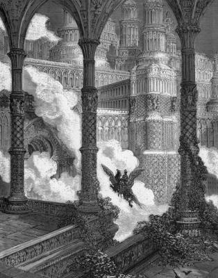 """Астольфо прибывает в великолепный дворец, расположенный на высокой горе. Иллюстрация Гюстава Доре к поэме """"Неистовый Роланд"""""""