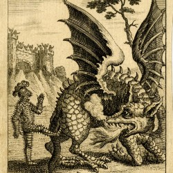 Дракон получает пинка. Средневековая гравюра
