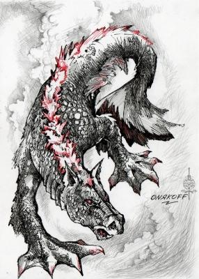 Гиппокамп (Hippocampus). Иллюстрация Ивана Онякова к бестиарию Сапковского