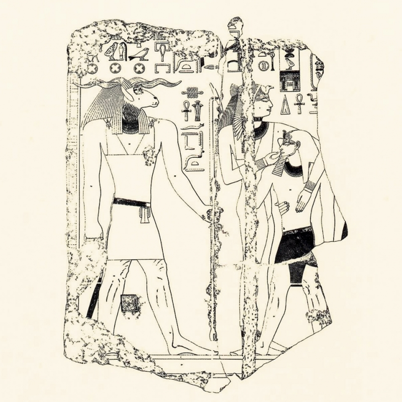 Прорисовка изображения бога Херишефа с оригинала храма Сахура, V династия