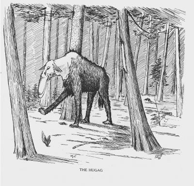"""Хугаг. Иллюстрация Кёр Дю Буа из книги """"Устрашающие твари промысловых лесов"""""""