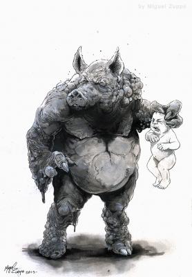Ишлот, дьявольский кабан. Иллюстрация Мигеля Зуппо