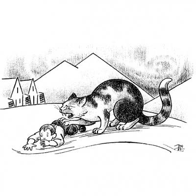 Йольский кот (Jólakötturinn). Рисунок Триггви Магнуссона (1932)