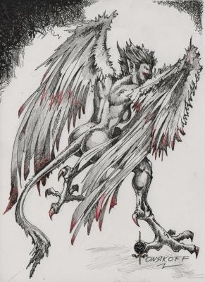 Гарпия (Harpia). Иллюстрация Ивана Онякова к бестиарию Сапковского