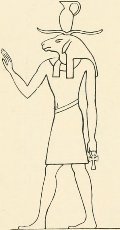 Древнеегипетский бараноголовый бог (вероятно, Хнум). Изображение из описи III и IV египетских залов Британского музея