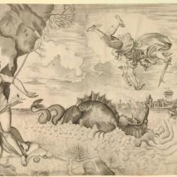Персей атакует Кита на гравюре XVI века