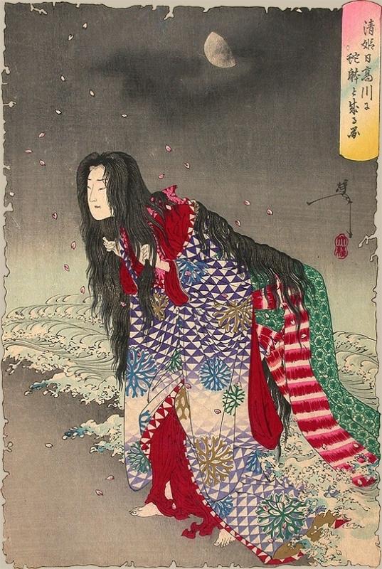 """""""Киё-химэ превращается в змею"""". Автор Цукиока Ёситоси"""