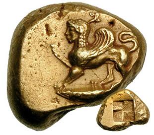 Сфинкс на античной монете из Кизика
