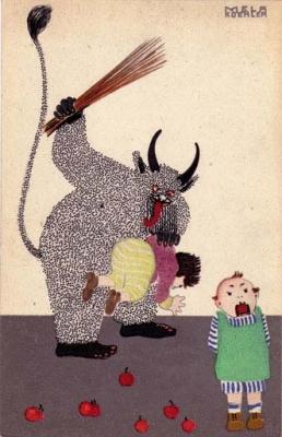 Открытка с изображением Крампуса, 1911 год