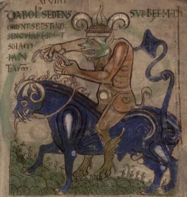 Дьявол на Бегемоте. Иллюстрация из Liber Floridus