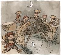 Ламиньяки строят мост в Лике. Иллюстрация за авторством Morburre