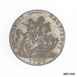 Святой Георгий и дракон на авресе полупенса 1796 года