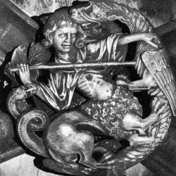 Битва леонтокентавра с драконом. Барельеф в Вестминстерском аббатстве (около 1250)
