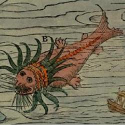 Морское чудовище (возможно, лингбакр) на морской карте Олафа Магнуса (Olaus Magnus)
