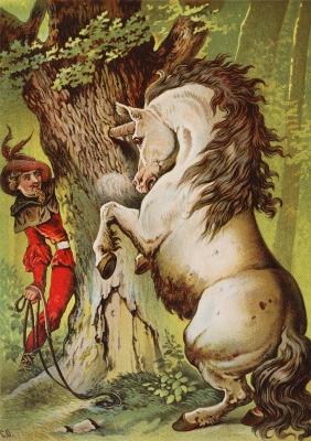 Храбрый портняжка ловит единорога. Иллюстрация Карла Оффтердингера к сказке братьев Гримм