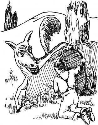 """Люферланг. Иллюстрация Маргарет Рэмси Трайон из книги """"Устрашающие твари"""""""