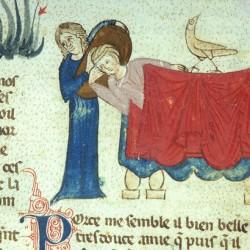 Харадр отворачивается от больного (Рукопись Моргановской библиотеки Manuscript. M.459, fol.7v)