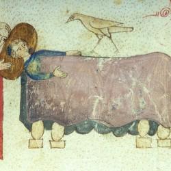 Харадр смотрит на больного (Рукопись Моргановской библиотеки Manuscript. M.459, fol.7v)