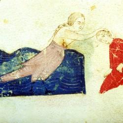 Сирена, умерщвляющая путника. Рукопись Моргановской библиотеки Manuscript. M.459, fol.8r