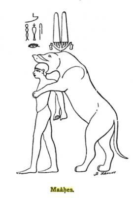 Бог Маахес в львиной ипостаси пожирает пленного