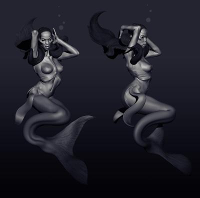 Русалка (Mermaid). 3D-моделинг от Маартэна Фархуфена (Maarten Verhoeven)