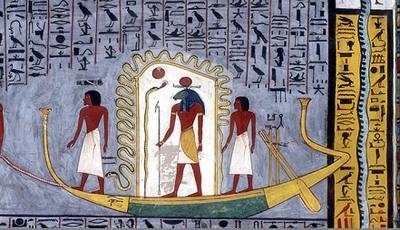 Змей Мехен, извивающийся вокруг Хнума-Ра. Фреска из гробницы Рамсеса I