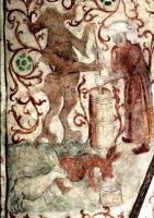 Дьявол и ведьма взбивают молоко. Молочные зайцы отрыгивают молоко. Фрагмент фрески в церкви Осмо, Швеция, ок. 1470 года