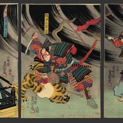 """""""Минамото-но Ёримаса убивает нуэ"""". Картина за авторством Утагавы Кинисады"""
