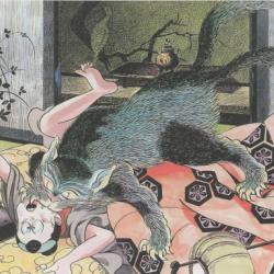 Нэкомата нападает на человека. Автор рисунка Сигэру Мидзуки