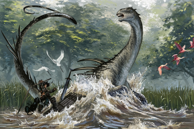 Атака мокеле-мбембе. Иллюстрация Бэна Вуттена