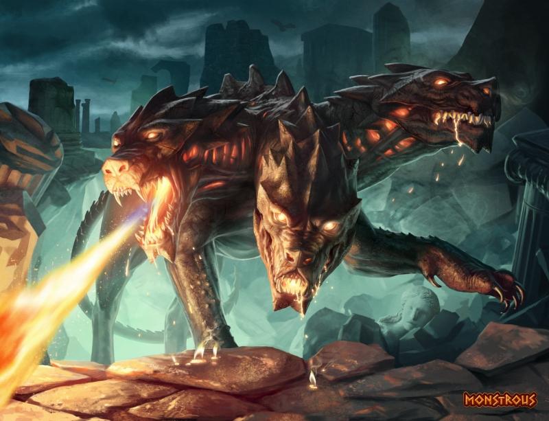 """Кербер. Иллюстрация Джаррода Оувена для карточной игры """"Monstrous"""""""