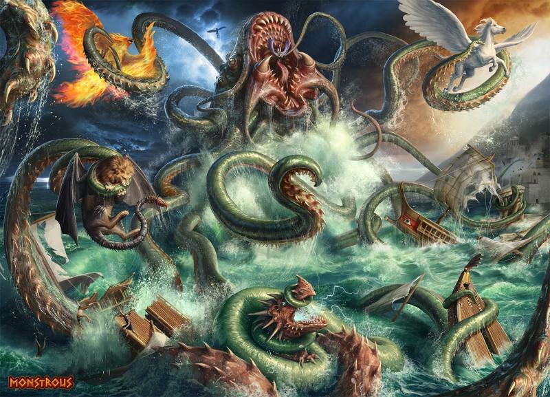 """Кракен. Иллюстрация Джаррода Оувена для карточной игры """"Monstrous"""""""