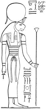 Львиноголовая богиня Мут. Прорисовкая сакрального изображения