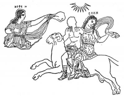 Нефела, Фрикс и Гелла. Рисунок на древнегреческой вазе