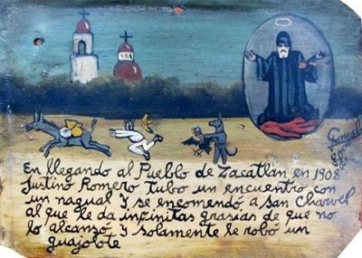 Ретабло Хустина Ромеро в благодарность Святому Шарбелю за то, что нагваль лишь забрал у него индюка