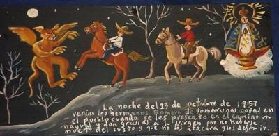 Ретабло братьев Ромеро в благодарность Пресвятой Деве за то, что нагваль позволил им проехать, 1957 год