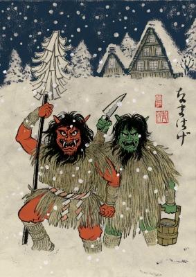 "Намахагэ. Иллюстрация Юко Шимизу для проекта ""Beware of the Yokai!"" от Discovery Channel"