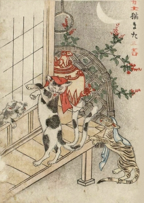 Нэкомата учит кошку. Цветная копия Набэты Гёкуэя с рисунка Ториямы Сэкиэна