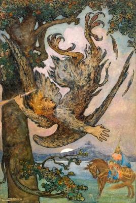 Соловей-разбойник. Иллюстрация Фрэнка Папе к русским сказкам (1916)