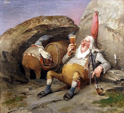 Ниссе дегустируют пиво (Nisse smaker på brygg). Картина Нильса Бергслина