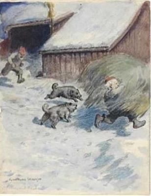"""""""Ниссе с сеном"""". Картина Гудмунда Стенерсена"""