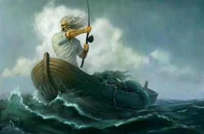 Старик и море. Иллюстрация Вальдемара Казака