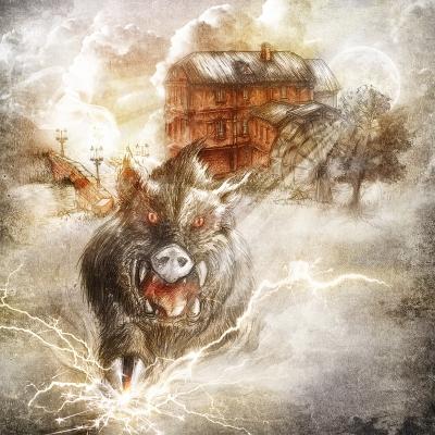 Черная свинья оршанского млына. Рисунок Евгения Кота