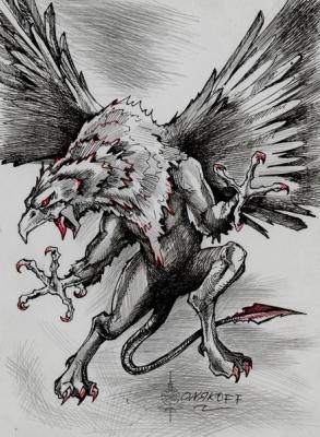 Грифон или Иног. Иллюстрация Ивана Онякова к бестиарию Сапковского